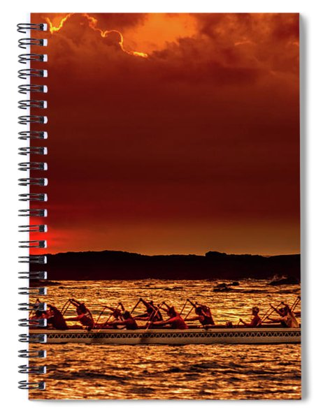 Rowing In The Sunset Spiral Notebook