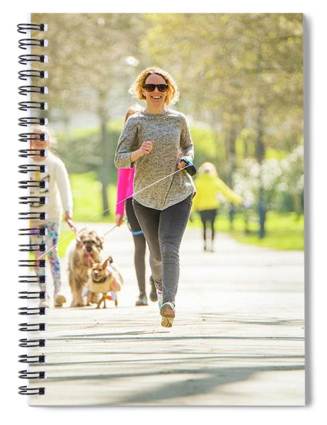 Running With Her Dog In The Park Spiral Notebook