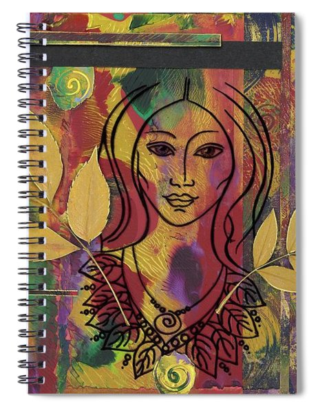 Spiral Notebook featuring the mixed media Sacred Heart by Koka Filipovic