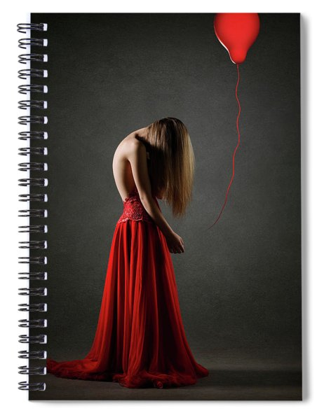 Sad Woman In Red Spiral Notebook