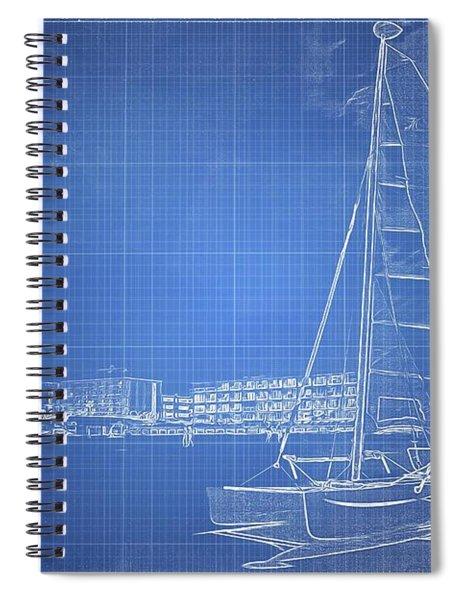 Sailboat Blueprinted Spiral Notebook