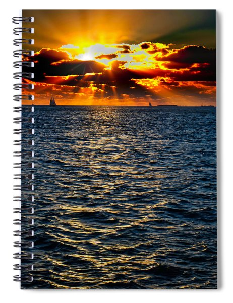 Sailboat Sunburst Spiral Notebook