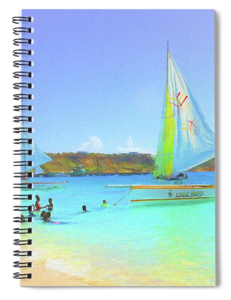 Sailboats At Sandy Ground In Anguilla  Spiral Notebook