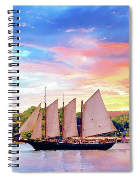 Sails In The Wind At Sunset On The York River Spiral Notebook