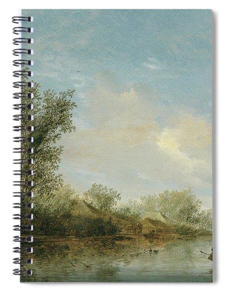 Salomon Jacobsz. Van Ruysdael -naarden, Ca. 1600-haarlem, 1670-. A River With Fishermen -1645-. O... Spiral Notebook