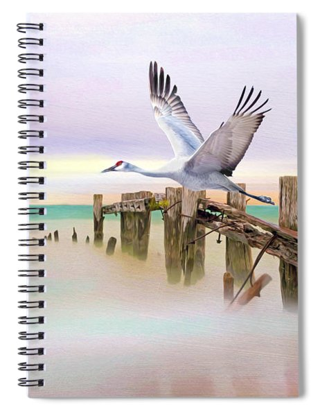 Sandhill Crane And Old Dock Spiral Notebook