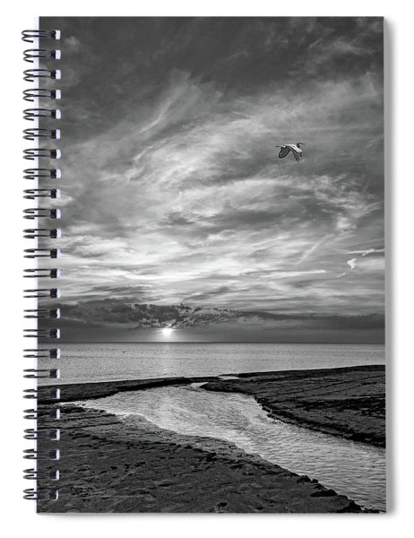 Sauble Beach Sunset - Heading Home Bw Spiral Notebook