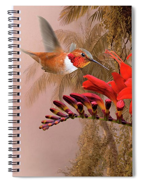 Scarlet Sage And Hummingbird Spiral Notebook