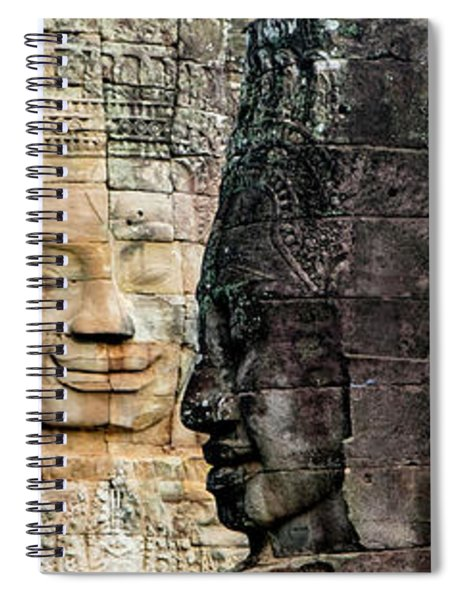 Sculptures At Bayon Temple, Angkor Spiral Notebook