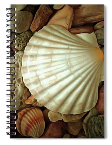 Seashell On Sea Pebbles Spiral Notebook