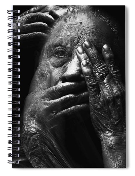 Spiral Notebook featuring the digital art See No Evil Hear No Evil Speak No Evil by ISAW Company