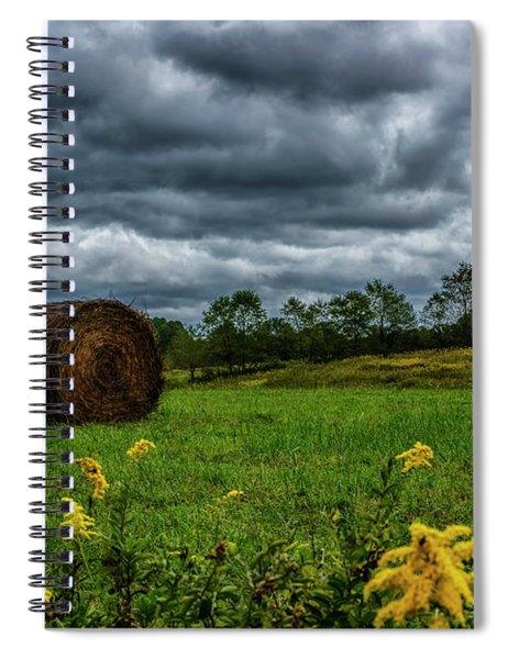 September Stormy Sky Hay Bale Spiral Notebook