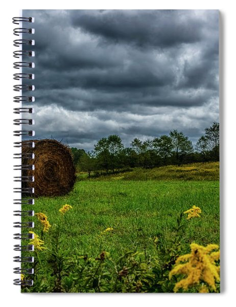 September Stormy Sky Hay Bale Spiral Notebook