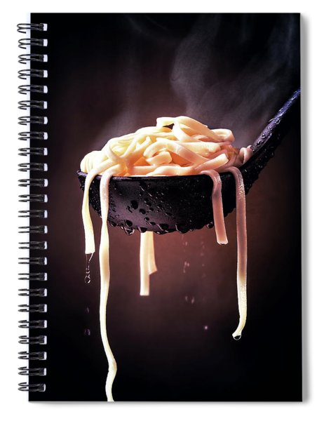 Serving Cooked Fettuccine Steaming Hot Spiral Notebook