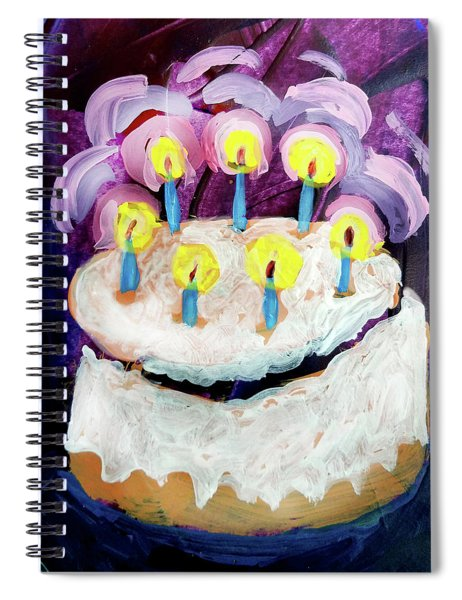 Seven Candle Birthday Cake Spiral Notebook