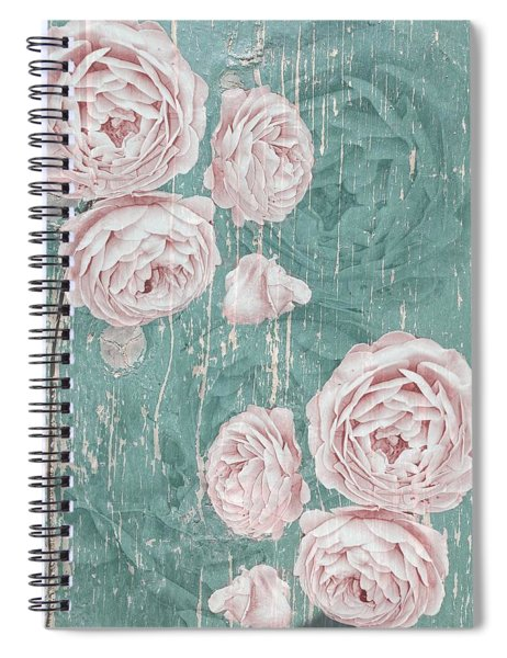 Shabby Chic Roses Distressed Spiral Notebook
