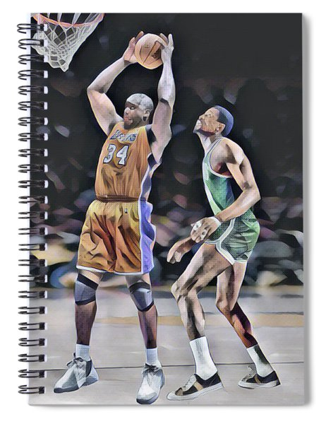 Shaquille O Neal Vs Bill Russell Abstract Art 1 Spiral Notebook