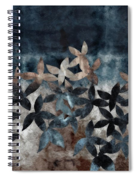 Shibori Leaves Indigo Print Spiral Notebook