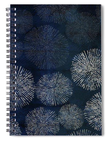 Shibori Sea Urchin Burst Pattern Dark Denim Spiral Notebook