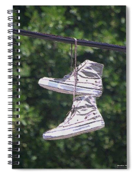 Spiral Notebook featuring the digital art Shoefiti 72793dp by Brian Gryphon