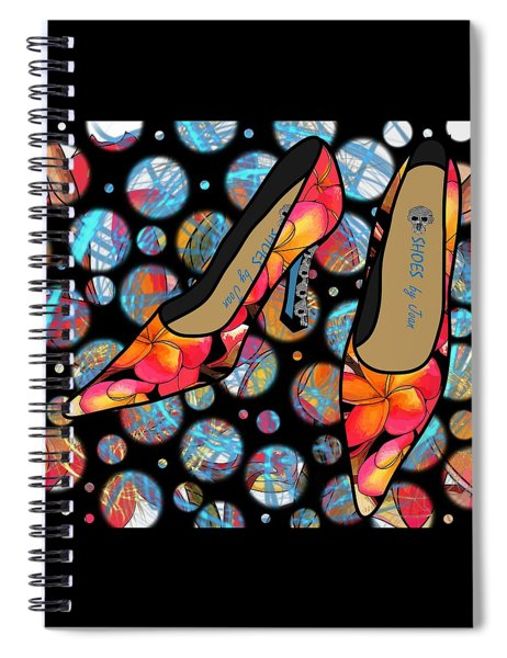 Shoes By Joan - Frangipani Pattern Pumps Spiral Notebook