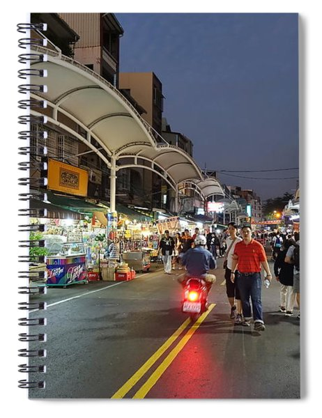 Shopping And Restaurant Street In Taiwan Spiral Notebook