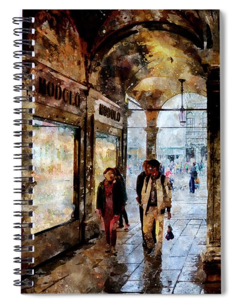 Shopping Area Of Saint Mark Square In Venice, Italy - Watercolor Effect Spiral Notebook