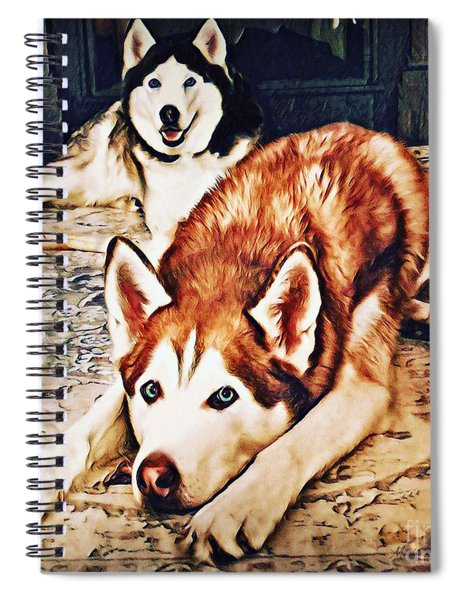 Spiral Notebook featuring the photograph Siberian Huskies At Rest A22119 by Mas Art Studio