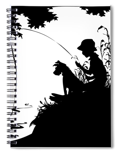 Silhouette Of A Boy Fishing With His Dog Spiral Notebook by Rose Santuci-Sofranko