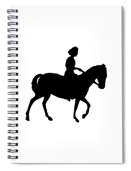 Silhouette Of A Woman On Horseback Spiral Notebook by Rose Santuci-Sofranko
