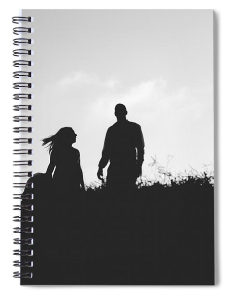 Silhouette Of Couple In Love With Wedding Couple On Top Of A Hil Spiral Notebook