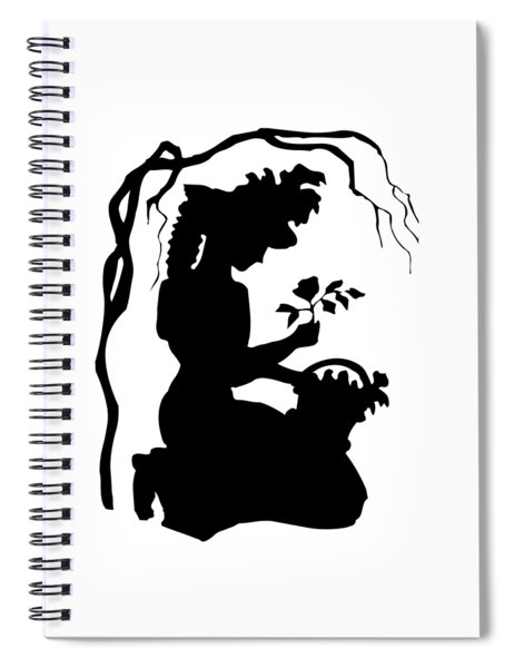 Silhouette Woman Picking Roses Spiral Notebook by Rose Santuci-Sofranko