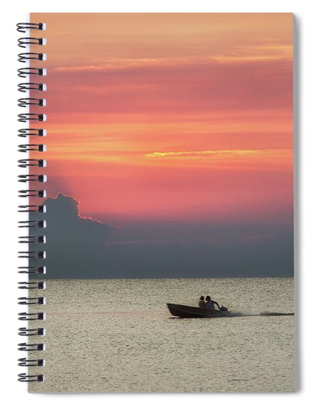 Silhouette's Sailing Into Sunset Spiral Notebook