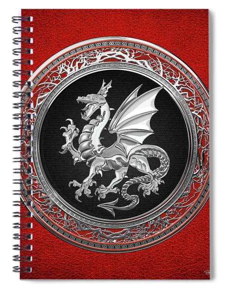 Silver Winged Norse Dragon - Icelandic Viking Landvaettir On Black And Silver Medallion Over Red  Spiral Notebook
