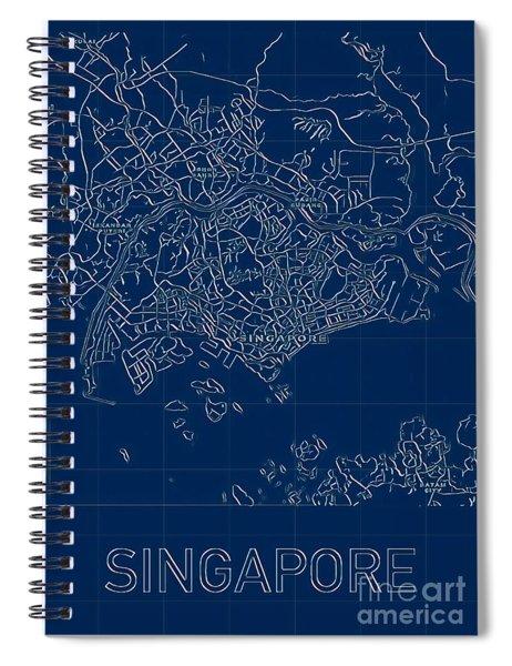 Singapore Blueprint City Map Spiral Notebook