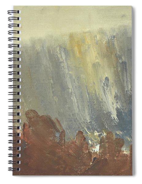Skogklaedd Fjaellvaegg I Hoestdimma- Mountain Side In Autumn Mist, Saelen _1237, 90x120 Cm Spiral Notebook
