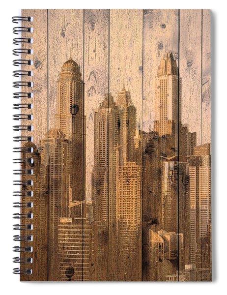 Skyline Of Dubai, Uae On Wood Spiral Notebook