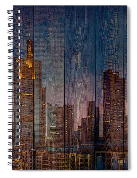 Skyline Of Frankfurt, Germany On Wood Spiral Notebook