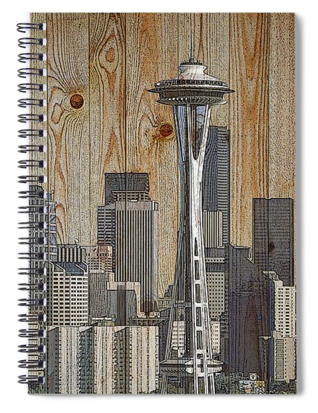 Skyline Of Seattle, Usa On Wood Spiral Notebook