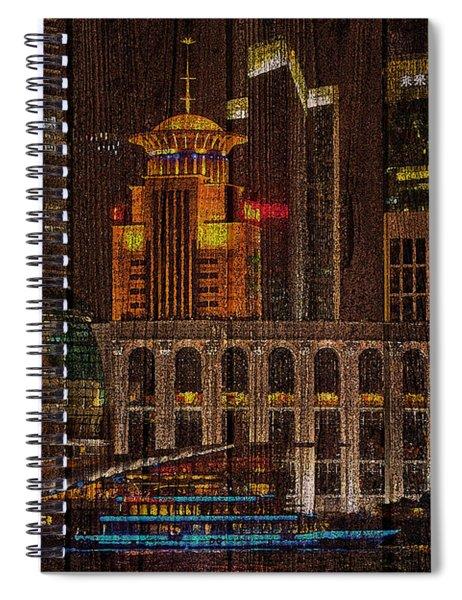Skyline Of Shanghai, China On Wood Spiral Notebook