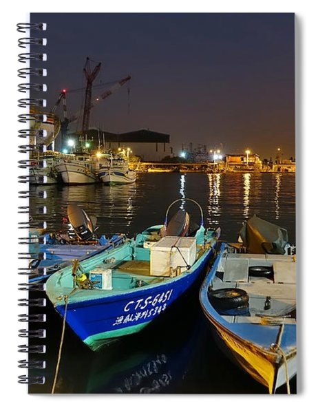 Small Fishing Harbor By Night In Taiwan Spiral Notebook