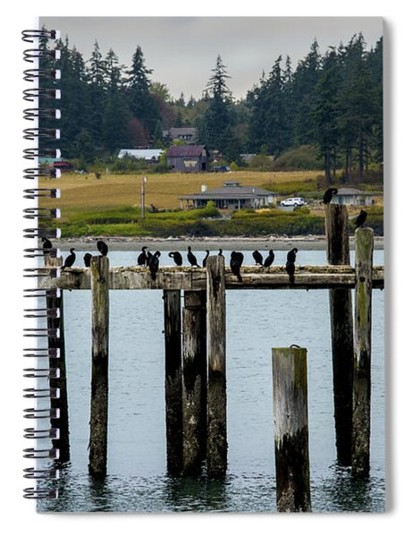 Small Village Along The Columbia River Spiral Notebook by Mae Wertz