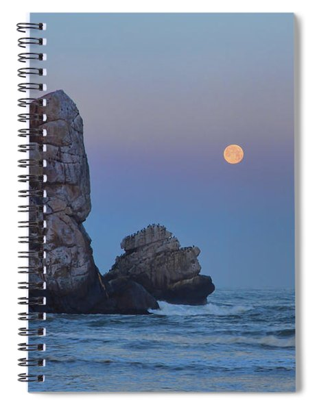 Snow Moon And Morro Rock Spiral Notebook