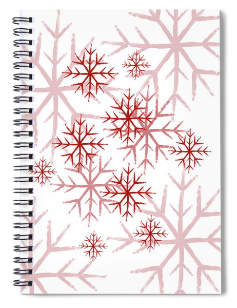 Snowflakes In Red Spiral Notebook