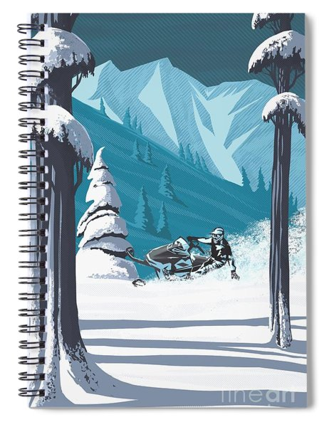 Snowmobile Landscape Spiral Notebook
