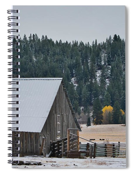 Snowy Barn Yellow Tree Spiral Notebook