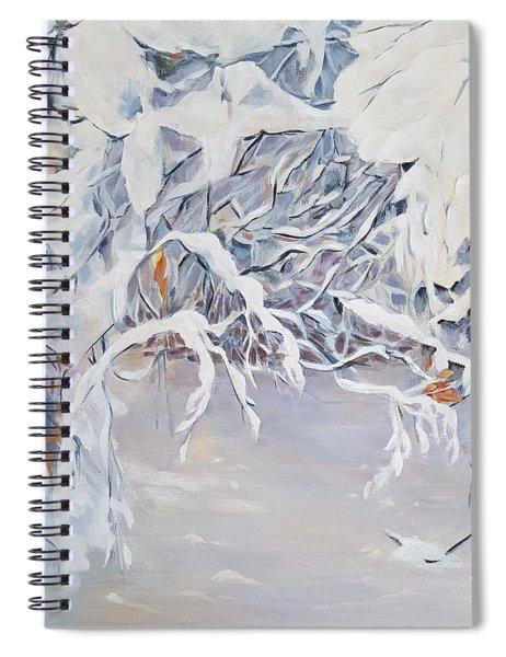 Snowy Branches In Neutrals Spiral Notebook