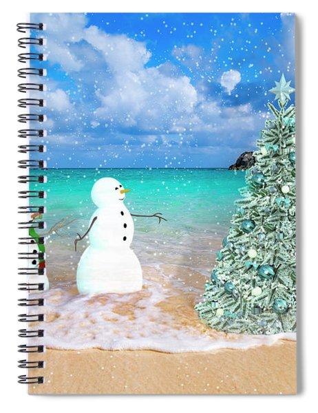 Snowy Couple On Christmas Tree Beach Spiral Notebook