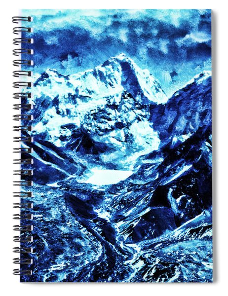 Snowy Mountains On Moonlit Night Spiral Notebook