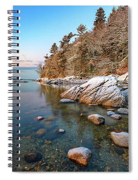 Snowy Shoreline In Wolfe's Neck Woods Spiral Notebook